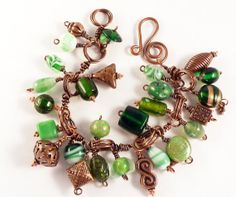 Copper  Glass Bead Charm Bracelet by BeadBrainDesigns on Etsy, $35.00