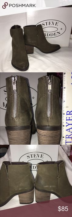 NEW Olive Green Steve Madden Booties Dark green, Steve Madden Booties. New with original box. Size 7.5 with a distressed look. Never worn!   ▪️no trades ▪️please use the offer button if you are trying to negotiate a serious offer... I will not discuss offers in the comments ▪️please ask me any questions you have about the shoes (whether it be sizing, color, or condition questions) Steve Madden Shoes Ankle Boots & Booties