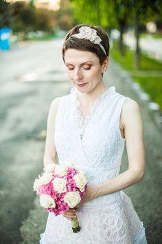 Vintage Lace Headband Pink Bridal Headband Pink by LuciaStofej