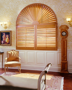 Linen & Shade Bin - Custom Window Treatments, Blinds, Curtains & Shutters in Milford, NH Arched Window Treatments, Custom Window Treatments, Window Coverings, Indoor Shutters, Wood Shutters, Arched Doors, Arched Windows, Shaped Windows, Diy Design