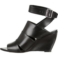 Pre-owned Narciso Rodriguez Julianna Leather Wedges ($275) ❤ liked on Polyvore featuring shoes, black, black shoes, wedge heel shoes, leather footwear, black wedge shoes and pointy toe shoes