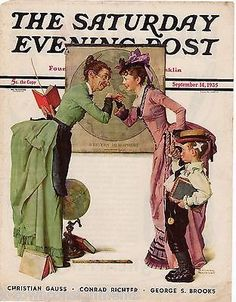 SCHOOL TEACHER & BOY NORMAN ROCKWELL VINTAGE POST MAGAZINE COVER GRAPHIC PRINT