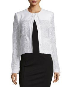 Jason Wu Long-Sleeve Cropped Jacket, Chalk, Women's, Size: 10