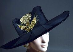 BLACK SILK VELVET 1910's VINTAGE PICTURE HAT - GOLD LAME EMBROIDERED TRIM.  SOLD at rpvintage.com.