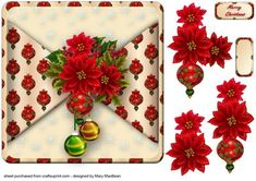 Poinsettias and Baubles Mock Wrap Card Front on Craftsuprint designed by Mary MacBean - Card front with a mock wrap effect and decoupage featuring a colourful cluster of poinsettias and baubles. There is a Merry Christmas sentiment or a blank tag for your own message. - Now available for download!