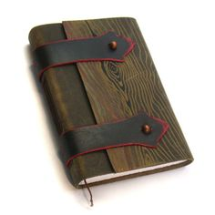 """Leather Journal with Distressed Wood Pattern - """"Medieval Book"""". $60.00, via Etsy."""