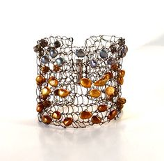 Brown, Gold and Silver Arm Cuff Bracelet Cuff Statement Jewelry Wire Knit by imwyred