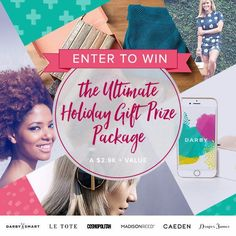Win this $2900 Ultimate Holiday Gift Prize Package from @madisonreedllb @letote @draperjames @darbysmart @CaedenOfficial @Cosmopolitan