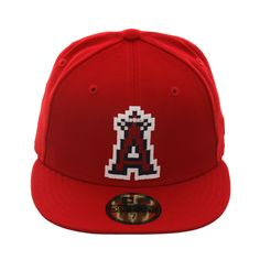 on sale b2349 4aba2 Exclusive New Era 59Fifty Los Angeles Angels Pixel Hat - Red
