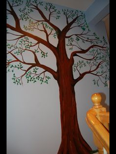 Family tree inspired mural by caras creations for a child's nursery. Look at the other examples of my children murals! Contact me if interested. I use acrylic paint on walls to create mural