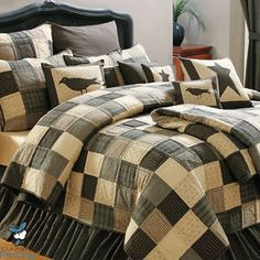BLACK-COUNTRY-PRIMITIVE-PATCHWORK-QUILT-SET-FOR-TWIN-QUEEN-CAL-KING-SIZE-BEDDING