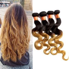 Brazilian 100g/Bundle Body Wave Ombre Real Human Hair Extension Remy Hair Wefts #WIGISS #HairExtension