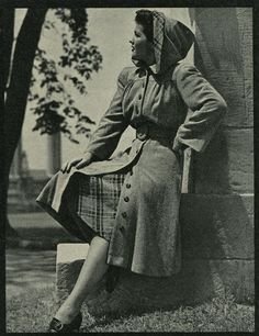 1940s fashion post card coat