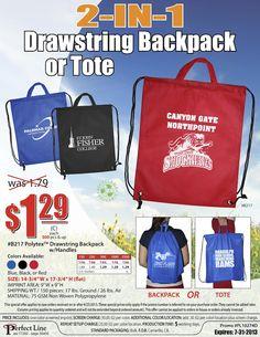 Custom Logo Drawstring Backpack & Tote - 2 in 1!