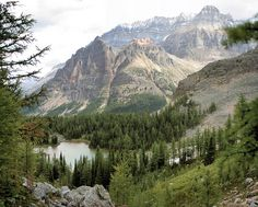 Schaffer Lake and Mt. Huber in Yoho, BC, Canada