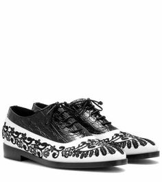Embroidered embossed leather brogues | Erdem