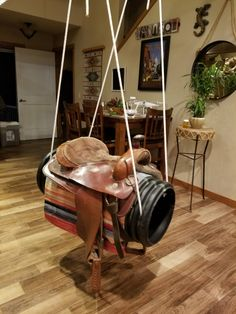 Saddle Swing, Horse Swing, Saddle Rack, Outdoor Play Spaces, Stick Horses, Rustic Western Decor, Equestrian Decor, Outside Living, Home Safety