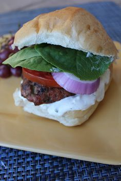 Tzyaki Turkey Burger--this hot, turkey burger right off the grill is perfect with the cool, cucumber Tzyaki sauce. Amazing new flavor for your next bbq!  (Deals to Meals)