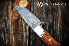 ACTIVE NATURE - Handmade Knives - Model RS I AN made from Damasteel and Desert Ironwood Handmade Knives, Kitchen Knives, Deserts, Nature, Model, Knifes, Desserts, Postres, Dessert