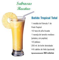 BATIDO TROPICAL TOTAL.- 1 medida de fórmula 1 batido de Fruta Tropical. 1/2 tasa de piña licuada. 1 naranja de tamaño mediano (pelada y sin pepitas). 1/2 plátano. 200 ml. de leche desnatada. 4-6 cubos de hielo (opcional). APROXIMADAMENTE 350 CALORIAS. http://www.jpcdesayuno.blogspot.com/