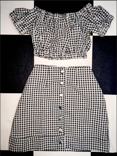 OMIGHTY gingham lolita crop top and skirt