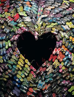 The heart is made of shoes worn in the 117th Boston Marathon...featured on the cover of the May 2013 issue of Boston Magazine.