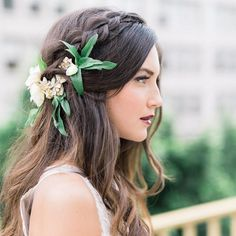 """""""Loving this bride's hair - super pretty for a garden wedding, right?! See more from this pretty editorial highlighting berry + burgundy over #onGWS today…"""""""