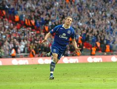 Phil Jagielka scored the winning penalty in Everton's last FA Cup semi-final at Wembley, against Man United.