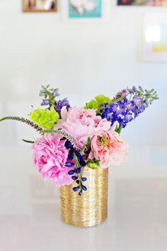 bright flowers, gold vase.