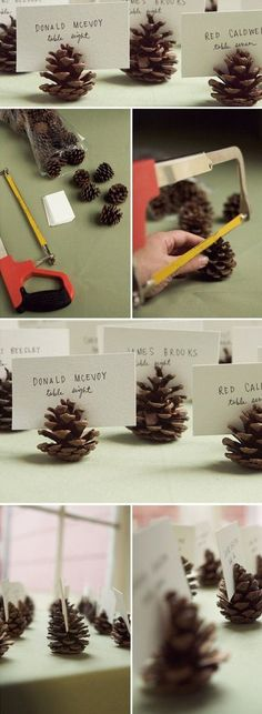 pine cone place cards for winter weddings