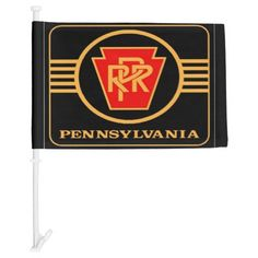Pennsylvania Railroad Logo, Black & Gold Car Flags ;Car Flag; $21.95 - #stanrail - When something is so good you can't contain it inside anymore, get a custom car flag and share it with world. (The world might be an exaggeration, but you get it…) From sports teams, to weddings, to bachelorette parties, we're here to inspire you to create your own possibility. We just can't wait to share in your excitement as you wave 'em high and wave 'em proud!  @stanrails_store