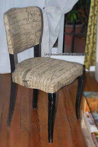Silla francesa antes y después   Bricolaje Potpourri, Cozy House, Home Office, Upholstery, Dining Chairs, Sweet Home, Furniture, Ideas Decoración, Home Decor