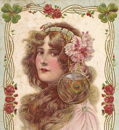 Peacock Feather Edwardian Postcard w Girl Clovers and Flowers Art Nouveau Embossed