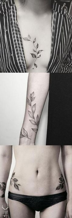 Black and White Large Flower Leaf Sternum Tattoo - Vine Arm Sleeve Hip Tat - MyBodiArt.com by bonnie