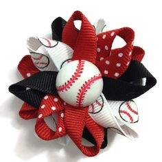 """New to CupcakesClipShop on Etsy: Black & Red Baseball Sports 2.5"""" Hair Bows - Handmade - Made To Order - French Barrette or No Slip Alligator Clip (5.00 USD)"""
