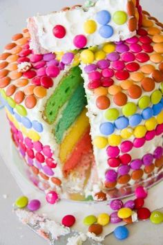 This rainbow layered sponge cake covered in smarties will get all the kids…