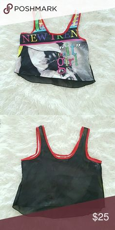 NWOT RETRO CHIFFON TANK COLORFUL GRAPHIC SEMI CROPPED TANK.LOGO STATES IT GIRL.BLACK SHEER BACK.FITTED Tops Tank Tops
