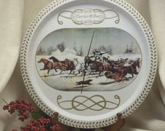 Check out Currier & Ives Upcycled Metal Tray Clock,Horse Drawn Sleighs in the Winter Snow Theme Clock – Wall Clock Recycled Tray, Unusual Item, #C6059 on ckdesignsforyou
