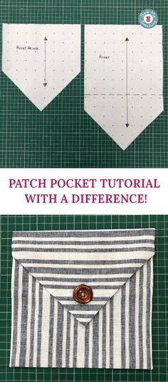 A simple but unusual style patch pocket with an opening at the top. Button & buttonhole is just a design feature! The Fold Line, Sewing A Button, Buttonholes, Sewing Tutorials, Patches, Buttons, Pockets, Stitch, Simple