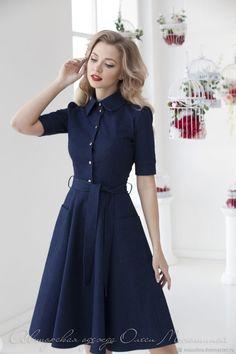 "Dress ""Blue Ink"" - buy or order . Modest Dresses, Stylish Dresses, Simple Dresses, Elegant Dresses, Cute Dresses, Vintage Dresses, Beautiful Dresses, Casual Dresses, Girls Dresses"