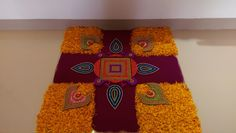 Art❤ Beautiful Rangoli Designs, Kolam Designs, Diwali Decorations, Flower Decorations, Flower Rangoli, Floating Flowers, Mirrors, Fashion Ideas, Decor Ideas