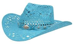 e4fc743f7df Modestone Women s Open Weave Straw Cowboy Hat White. Alamo Turquoise  Twisted Toyo Straw Hat with Hondo Crown
