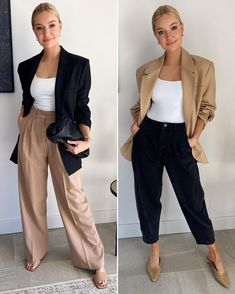 Blazer Outfits Casual, Trouser Outfits, Simple Outfits, Classy Outfits, Chic Outfits, Summer Outfits, Fashion Outfits, Pants Outfit, Work Outfits