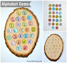 """Alphabet Gems ~ DIY game to encourage matching upper and lower case letters. She calls the lower case letters """"baby"""" letters, and the upper case letters """"mama"""" letters to explain why they look different. Preschool Literacy, Preschool Letters, Early Literacy, Literacy Activities, Activities For Kids, Crafts For Kids, Spelling Activities, Kids Diy, Literacy Centers"""