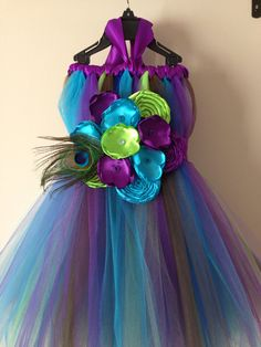 Peacock tutu dress and matching hair piece / Flower girl size nb to 9years on Etsy, $74.18 CAD