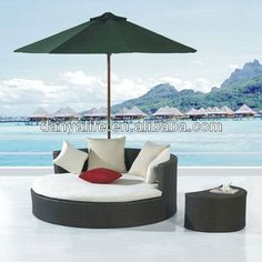 DYBED D3101,Wicker Garden Patio Sun Bed,Rattan Outdoor Leisure Double Daybed,Cane Swimming Pool Lounger Bed,Round Beach Sun Bed-in Rattan / Wicker Chairs from Furniture on Aliexpress.com | Alibaba Group $2500