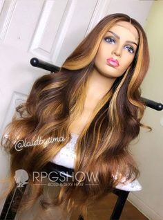 Golden Highlight Middle Parting Wavy Lace Front Wig - laidbytima009