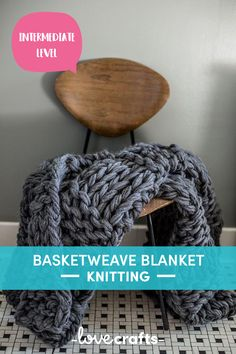 This gorgeous, super bulky basketweave blanket arm knitting pattern will add a little extra coziness to your home! | Downloadable PDF at LoveCrafts.com