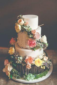 Whimsical Cake Log Flowers Forest Quirky Natural Woodland Wedding http://lisahowardphotography.co.uk/
