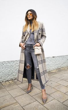 mango checked coat outfit